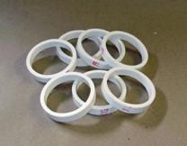 1. Sample Rings – Cut uniform sample rings to hold the material. The test protocol requires a minimum sample thickness of ¼ inch. We used 2 inch I.D. plastic tubing cut 3/8 inch thick.